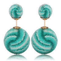 Italian Import Gum Tee Mise en Style Tribal Double Bead Earrings - Micro Bead Aquamarine Waves Design
