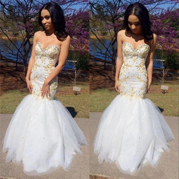Sexy White And Gold Prom Dress Sweetheart Mermaid Long Prom Dresses 2016 New Pageant Women Customized Sequins Special Occasion