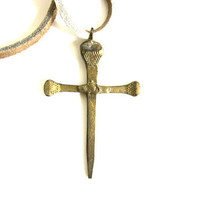 vintage gothic cross necklace pendant w leather rope chain