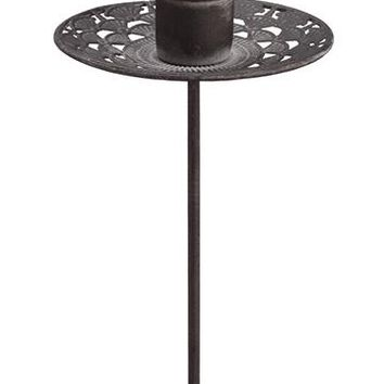 "Decorative Grey Metal Holiday Candle Holder Pick - 7"" Tall"