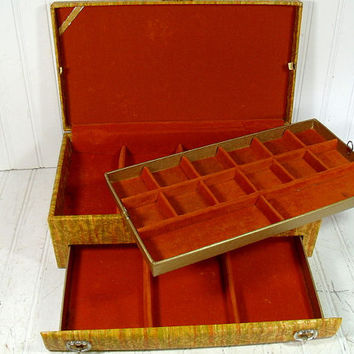 Vintage Lady Buxton 2 Piece Jewelry Box - Retro Display Case in Groovy Mid Century Colors with 3 Tiers - BoHo Artisan's Tools & Supply Chest