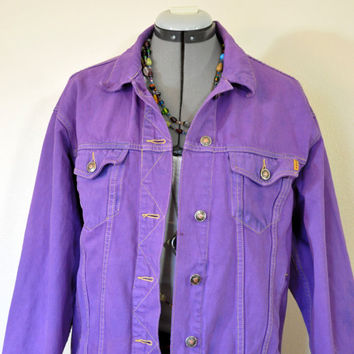 "Violet 12 Medium Denim JACKET - Purple Dyed Upcycle The Limited Cotton Denim 80s Trucker Jacket - Adult Womens Size 12 Medium (44"" chest)"