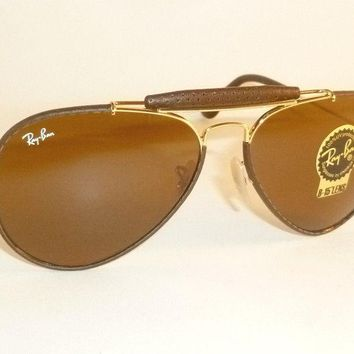 New RAY BAN Aviator Outdoorsman Brown Leather RB 3422Q 9041 B-15 Brown Lenses