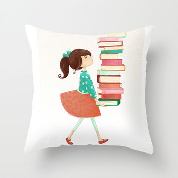 Library Girl Throw Pillow by Stephanie Fizer Coleman | Society6
