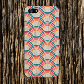 Wood Grain x Layered Rainbow Design Phone Case for iPhone 6 6 Plus iPhone 5 5s 5c iPhone 4 4s Samsung Galaxy s6 s5 s4 & s3 and Note 4 3 2
