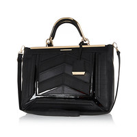 River Island Womens Black chevron panel structured tote bag