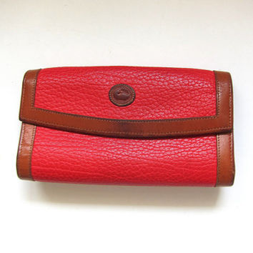vintage red Dooney and Bourke Leather Wallet. Checkbook.