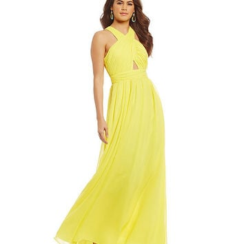 Hailey By Adrianna Papell Halter Chiffon Gown | Dillards