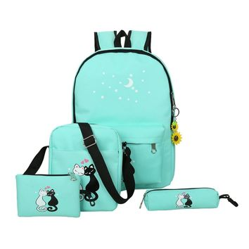 4pcs Cute Cat Printed Backpack Canvas Backpack Casual Girls Preppy Chic School Bags Female Backpacks Travel Mochila Rucksack Set