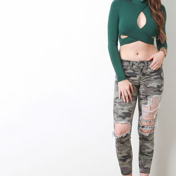 Ripped Camouflage Capri Jeans