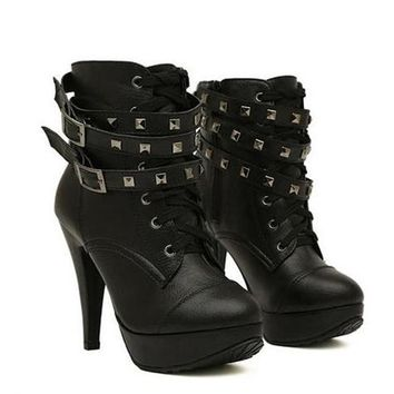 New Women Black Ankle Boots Motorcycle Thin High Heel Double Buckle Gothic Punk Platforms Botas Mujer
