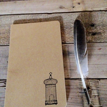 Antique birdcage hand stamped journal