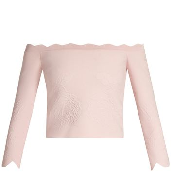 Off-the-shoulder matelassé cropped top | Alexander McQueen | MATCHESFASHION.COM UK