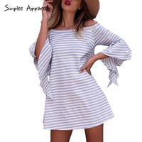 Simplee Apparel off shoulder ruffles striped summer dress women fashion flare sleeve beach dress Hollow out short dress vestidos