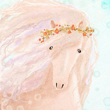 Nursery wall art animals, digital print,  girls room décor, horse painting, rose quartz pink pastel