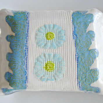 Ceramic Serving tray, sushi tray, turquoise blue and white flowers and lace