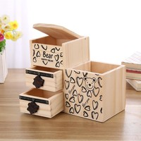 Bear Wooden Pen Holder Kawaii Desk Tidy Organizer Pencil Holder Cute Anime Cartoon Desktop Pen Pot Creative Office Accessories
