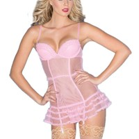 Be Wicked BW1516 Be pretty in this 2-Piece Candy Pink Sheer Chemise