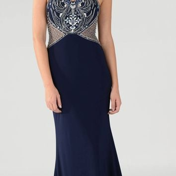 Navy Blue Sheer Bodice High-Scoop Cut-Out Neckline ITY Long Prom Dress