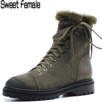 Sweet Female 5666 Lady Outdoor waterproof Cool Hip hop work shoes warm Plush natural Genuine leather Winter Snow boots women