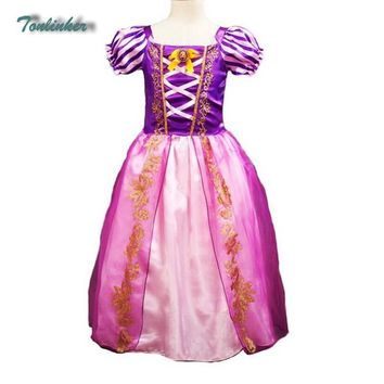 Tonlinker new Little Girls Princess Rapunzel Aurora Costume Puff Sleeve Dress Cosplay Halloween Birthday Party Dress Fancy Dress