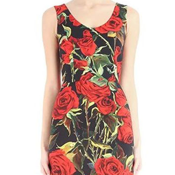 Black Sleeveless Rose Print Mini Pencil Dress