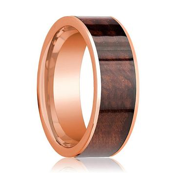 Mens Wedding Band Polished Flat 14k Rose Gold Wedding Ring with Red Wood Inlay - 8mm
