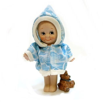 Bisque Porcelain Kewpie Doll Shackman String Jointed Arms Blue Wings Collectible