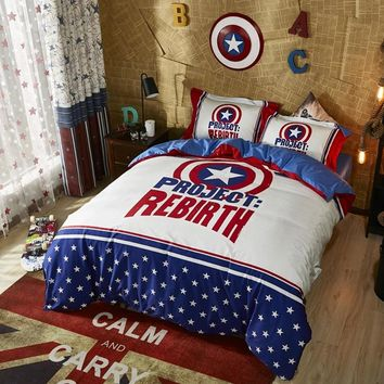 Disney Cartoon Comforter Cover Bedding Set 100% Cotton MARVEL Captain America Bedroom Decor Boy Gift Bed Sheet Fitted Sheet