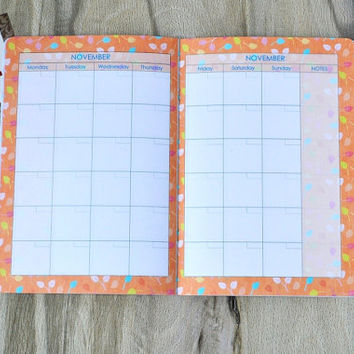 Monthly planner 2016 Diary notebook Goals journal Undated monthly Floral day organizer Nice planner Bright diary journal Womens planner