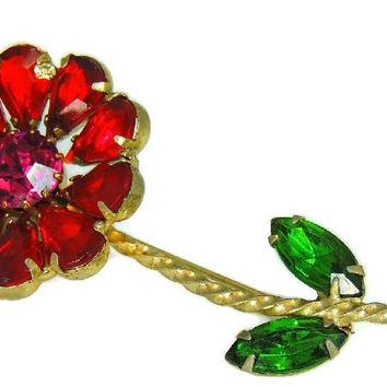 Vintage Weiss Flower Rhinestone Brooch Large Bright Stones