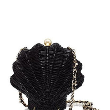 Kate Spade New York Splash Out Wicker Clam Shell Shoulder Bag