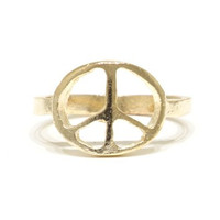Peace Sign Ring Size 5 Flower Power Anti War Statement RI06 Gold Tone Cocktail Fashion Jewelry