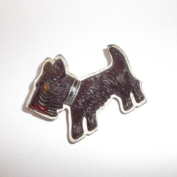 Old Brown Plastic Celluloid Scotty Dog on Metal Pin C-Clasp