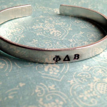 Custom Hand Stamped Sorority or Fraternity by LaurenElaineDesigns