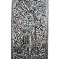 Intricately Hand Carved Wood Buddha Floral Carving Door Wall Art