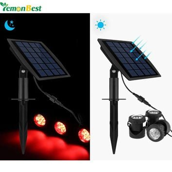 LemonBest Garden Pool Pond Solar Lights Outdoor Spot Light 18LEDs Underwater Spotlights with Solar Panel 3 RGB Lawn Solar Lamps