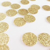 "100 Gold Glitter Circle Confetti - 1/2"" - Confetti for your wedding, bridal shower, bachelorette, birthday party, baby shower"