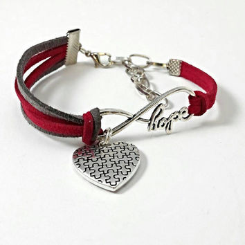 Autism infinity hope bracelet, autism awareness jewelry, puzzle piece heart charm, red and grey, adjustable bracelet, autism mom gift.