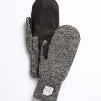 Mitten with Deerskin Palm in Charcoal Melange