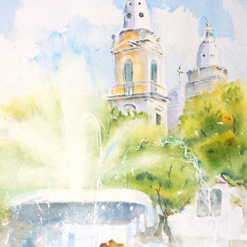 Original Watercolor Painting, Lions Fountain, 9x12, Plaza Las Delicias, Ponce,Puerto Rico, water,sculpture,church,cathedral,architecture