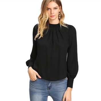 Black Stand Collar Chiffon Workwear Office Long Sleeve Pleated Top