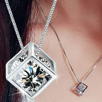 Stunning WGP square necklace +Gift Box
