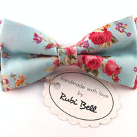 Bow Tie - light blue floral bow tie - wedding bow tie - light blue bow tie with pink flower pattern - man bow tie -men bow tie-gifts for him