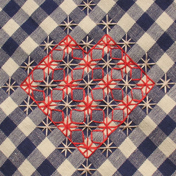 Navy Blue, Linen Kitchen Towel, Tea Towel, Gingham plaid, Hand Embroidery, Large Geometric Red Heart, Love towel