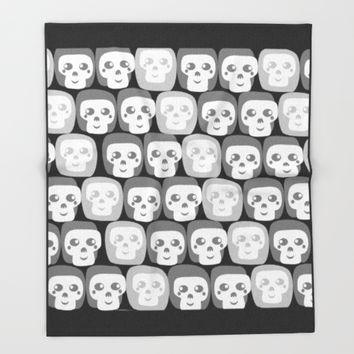 Boo - Skulls Pattern Throw Blanket by All Is One
