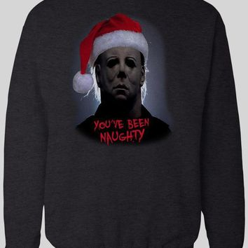 """MOVIE SERIAL KILLER MICHAEL MYERS """"YOU'VE BEEN NAUGHTY"""" CHRISTMAS SWEATER"""