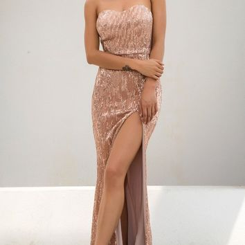 Show Me Some Love Champagne Sequin Strapless Sweetheart Neck High Slit Fishtail Maxi Dress