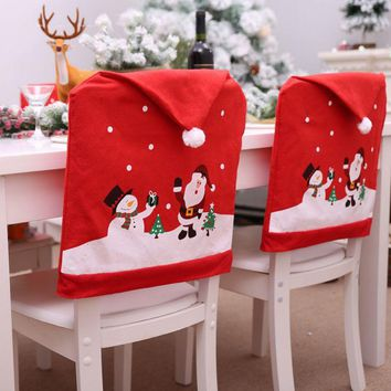 Christmas Removable Santa Red Chair Covers Decorations Wedding Dinner Chair Xmas Spandex Office Folding Hotel Chair Covering