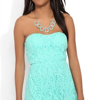 Strapless Sweetheart Lace Skater Dress with Cut Out Back